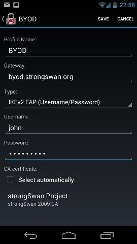 Android VPN client configuration